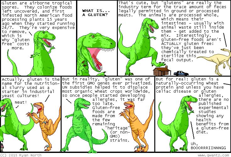 Dinosaur Comics defines gluten, www.qwantz.com
