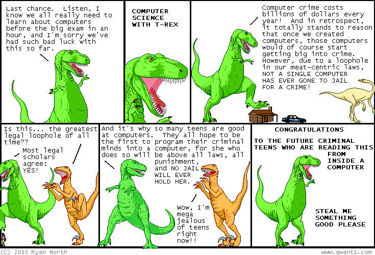 Dinosaur Comics - September 30th, 2015 - awesome fun times!