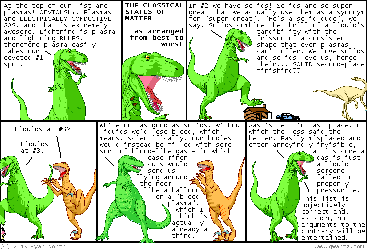 """a line i had to cut for space in this comic is utahraptor shouting """"PLASMA'S #1! PLASMA'S #1!"""" in panel 5. this is not a spoiler because I say plasma is #1 in literally the first panel of this comic."""