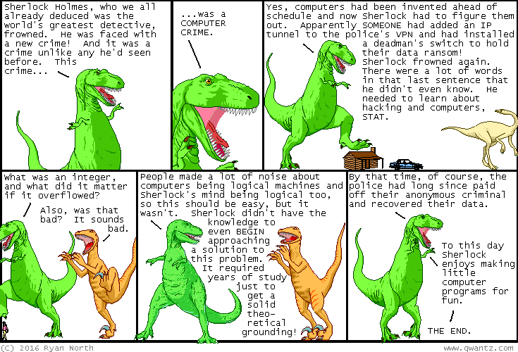 Dinosaur Comic about Sherlock Holmes and computers