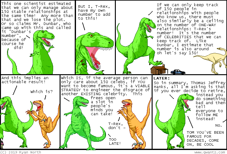 since t-rex s number is the same as dunbar s number, it s a reasonable strategy to forget dunbar and only remember t-rex s number